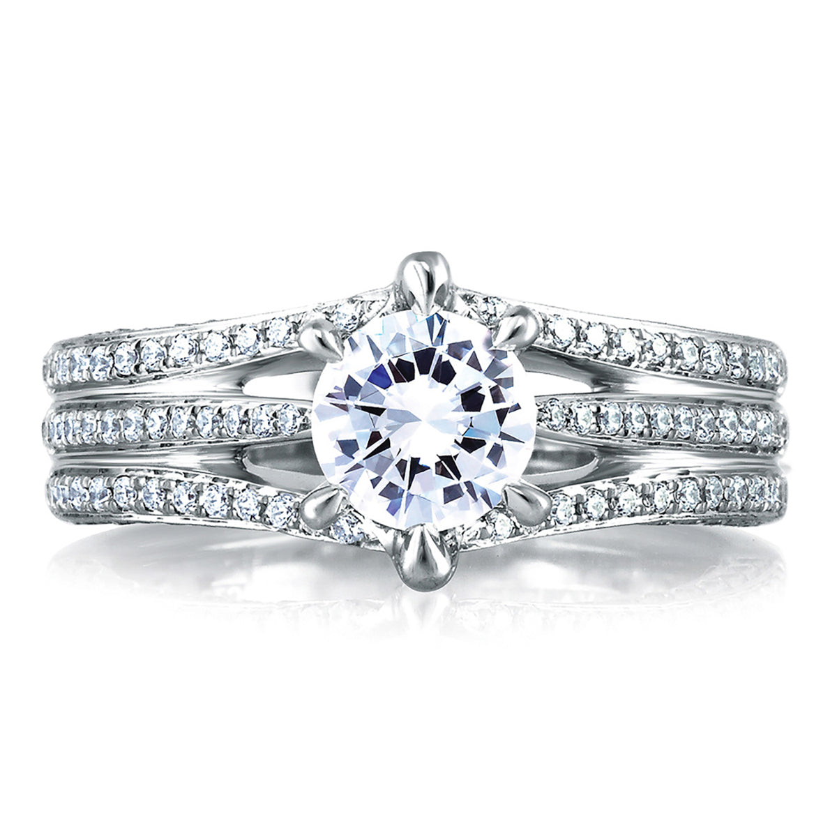 A.Jaffe Open Three Row Pave Engagement Ring MES414/143