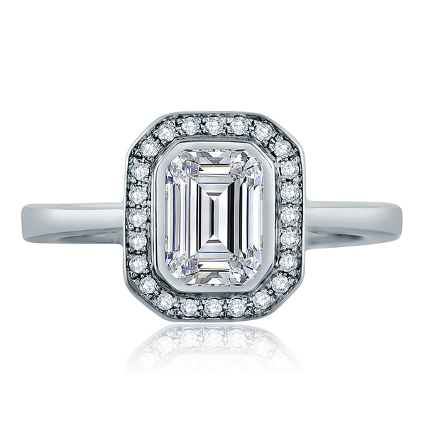 A.Jaffe Emerald Cut Delicate Pave Bridal Engagement Ring MES556/156