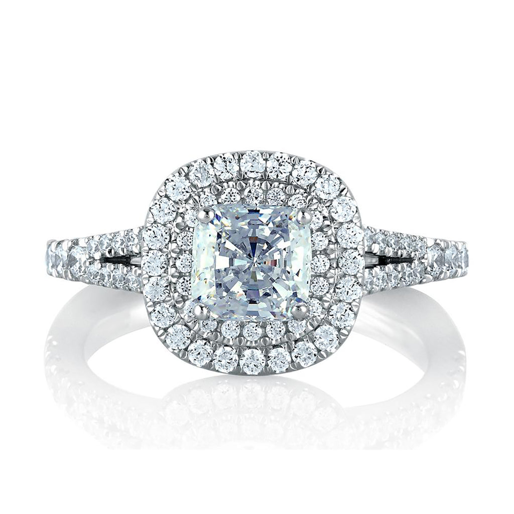 A.Jaffe Classic Double Halo Cushion Engagement Ring MES574/154