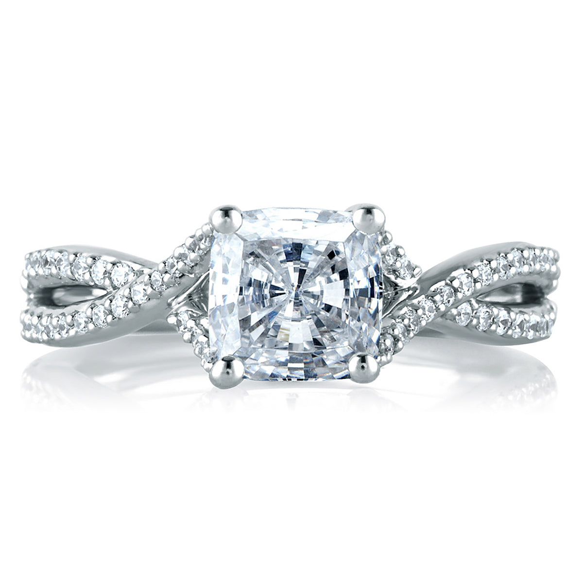 A.Jaffe Criss Crossover Cushion Cut Engagement Ring MES575/177