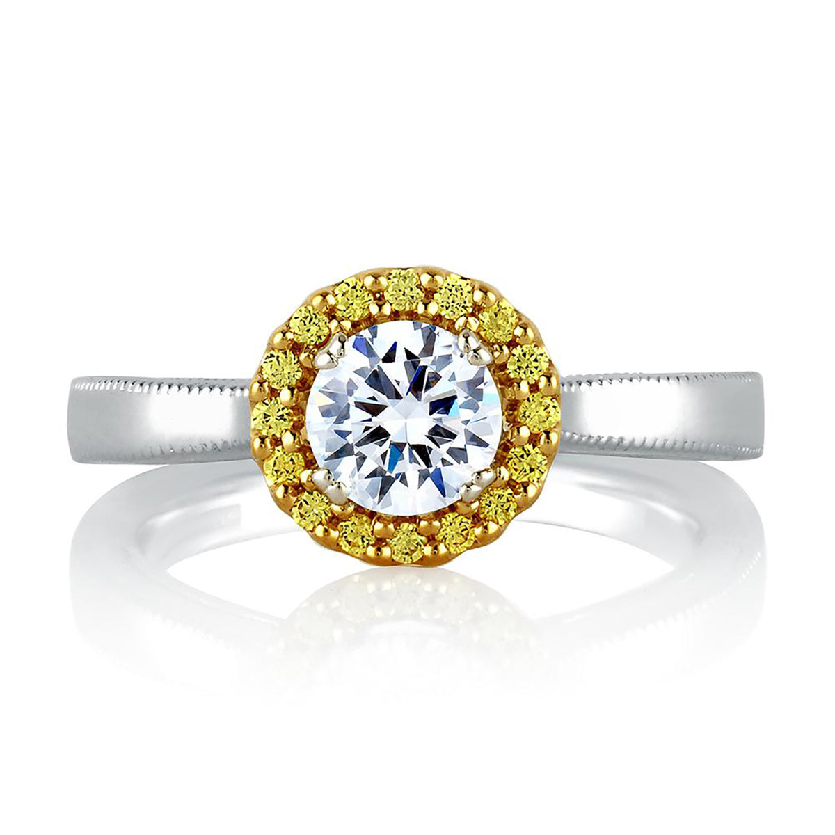 A.Jaffe Two Tone Cathedral Halo Engagement Ring MES601B/77