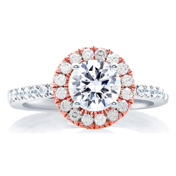 A.Jaffe Center of My Universe Rose Gold Diamond Halo Engagement Ring MES630/151