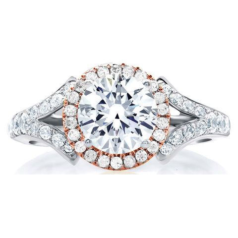 A.Jaffe Center of My Universe Rose Gold Diamond Halo Designer Engagement Ring MES636/148