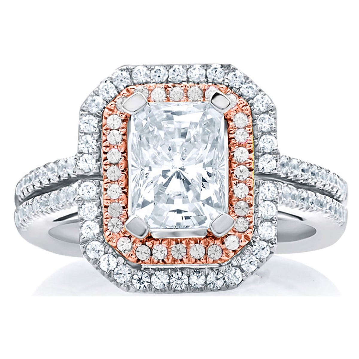 A.Jaffe Double Halo Emerald Cut Rose Gold Diamond Engagement Ring MES637/139