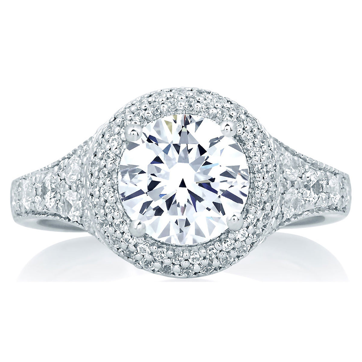 A.Jaffe Pave Deco Halo with Round Center Diamond Engagement Ring MES640/214