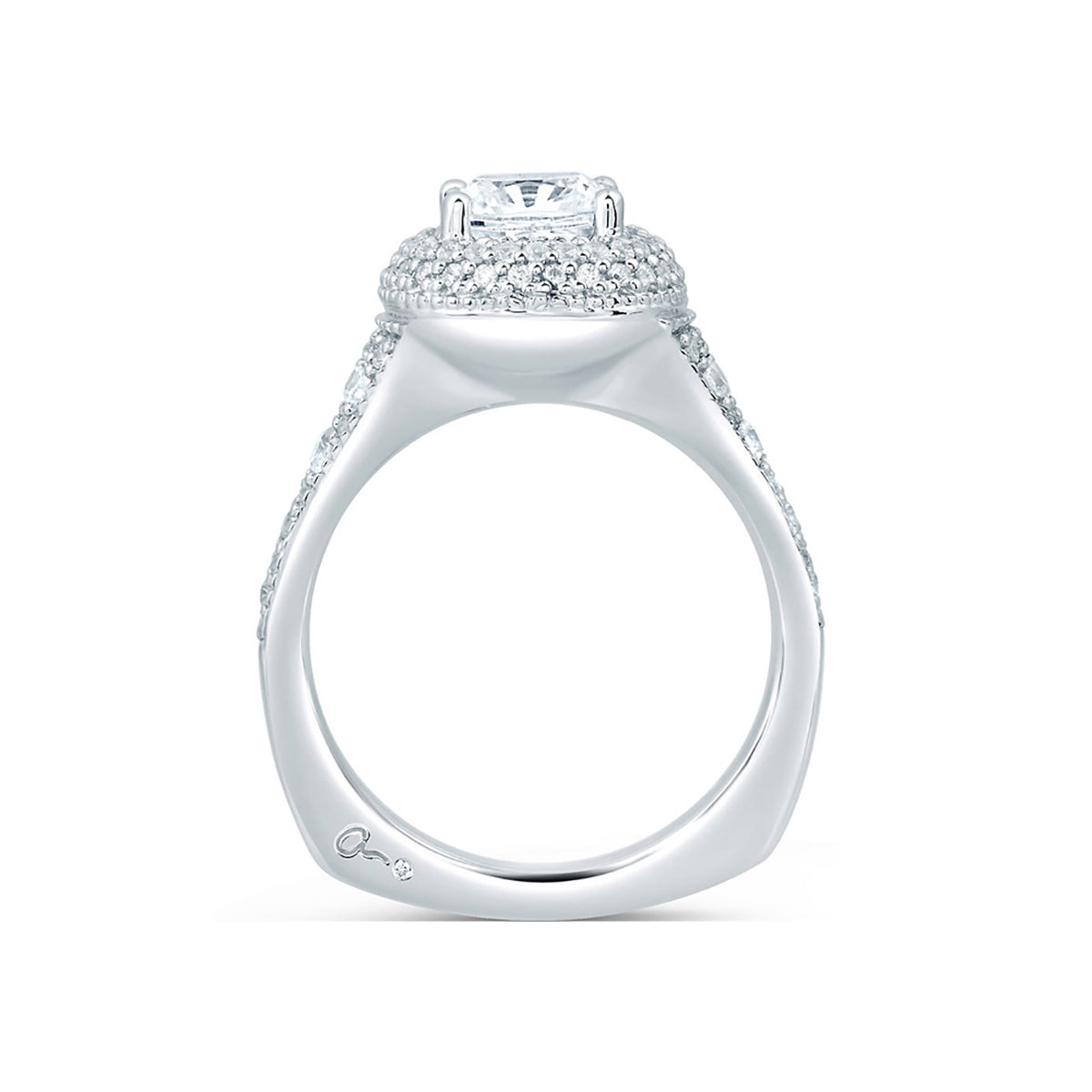 A.Jaffe Pave Deco Halo with Asscher Cut Center diamond Engagement Ring MES641/212