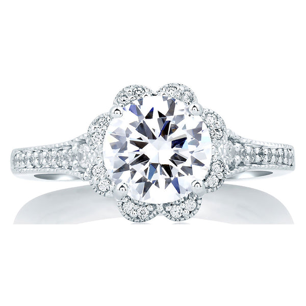 A.Jaffe Deco Floral Halo Engagement Ring MES645/82