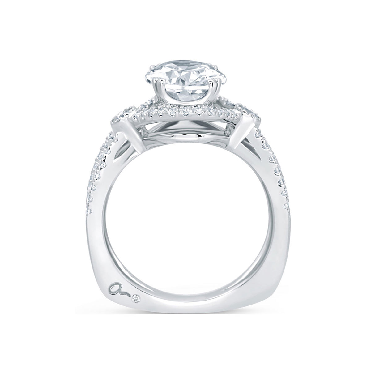 A.Jaffe Deco Double Shank Bubble Prong Engagement Ring with Oval Center Diamond MES648/134