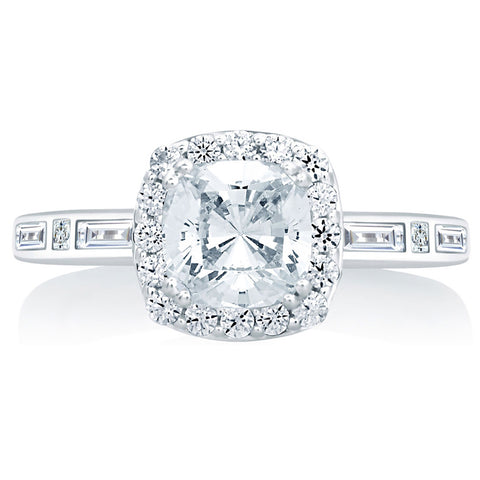 A.Jaffe Cushion Cut Halo with Baguettes and Princess at the Sides MES652/151
