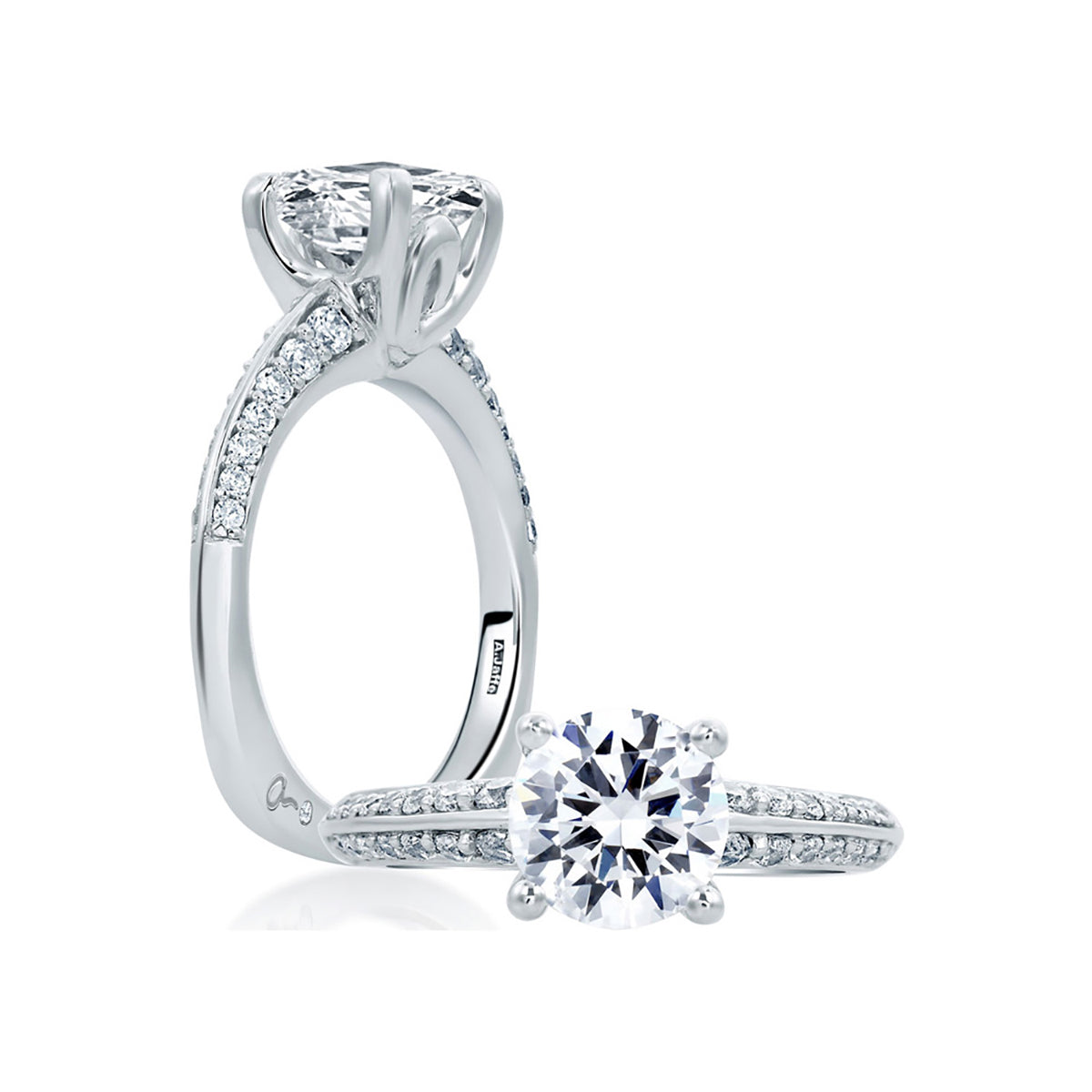 A.Jaffe Classic Round Diamond Center Solitaire Engagement Ring MES669/41