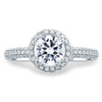 A.Jaffe Round Cut Delicate Pave Bridal Engagement Ring Pave Band MES674/152