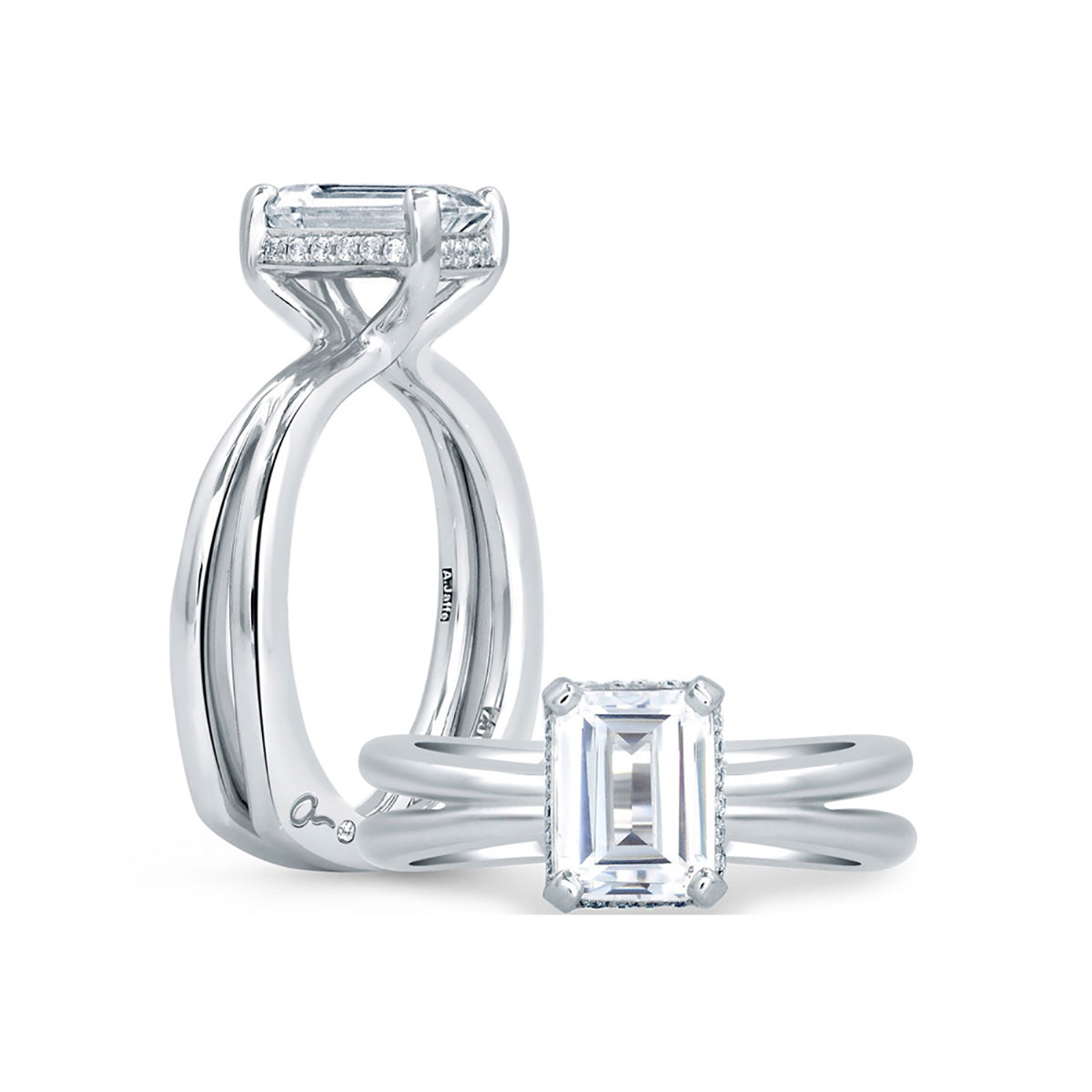 A.Jaffe Unique Emerald Cut Delicate Pave Bridal Engagement Ring MES677/107