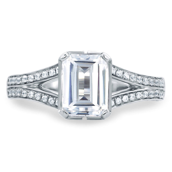 A.Jaffe New York City Skyline Inspired Emerald Cut Delicate Pave Bridal Engagement Ring MES681/222