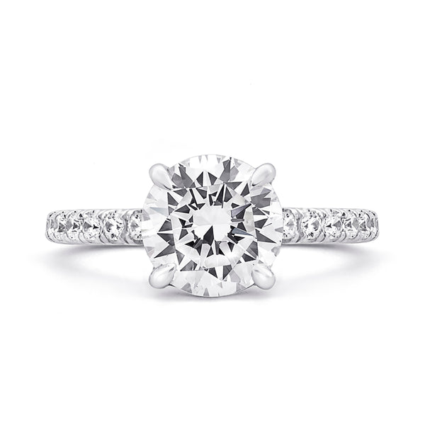 A.Jaffe French Pave Round Center Diamond Engagement Ring MES715/237