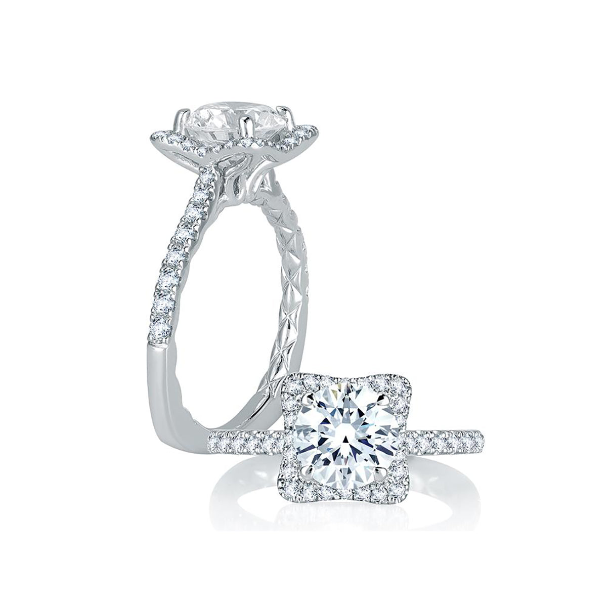 A.Jaffe Square Halo with French Round Diamond Center Quilted Engagement Ring MES750Q/113