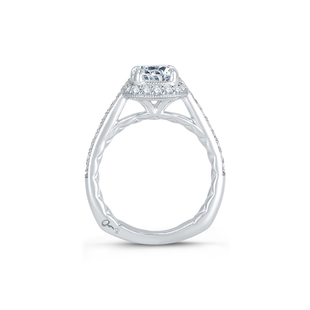 A.Jaffe Stunning Four Prong Halo Cushion Cut Diamond Quilted Engagement Ring MES756Q/183