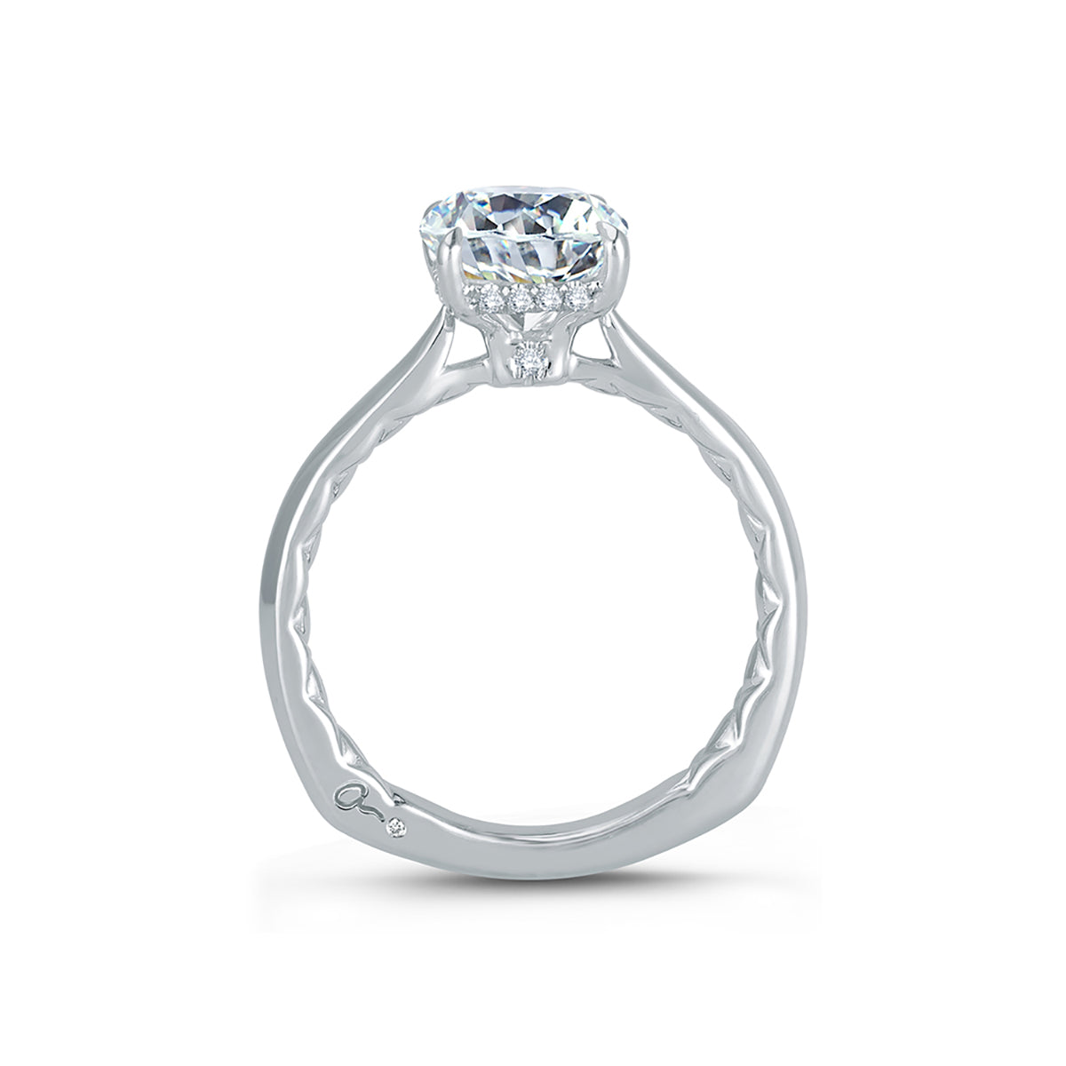 A.Jaffe Peek-A-Boo Pave Profile Cushion Center Diamond Quilted Engagement Ring MES760Q/106