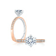 A.Jaffe Two Tone Diamond Engagement Ring with Delicate Rose Gold Quilted Interior MES775Q/116