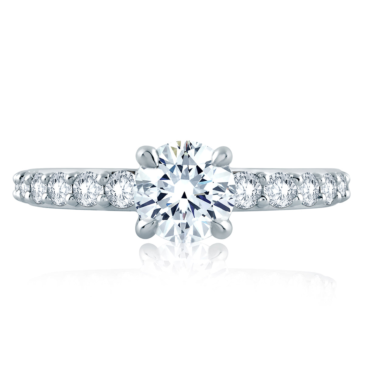 A.Jaffe Two Tone Solitaire Shared Prong Engagement Ring MES847/164