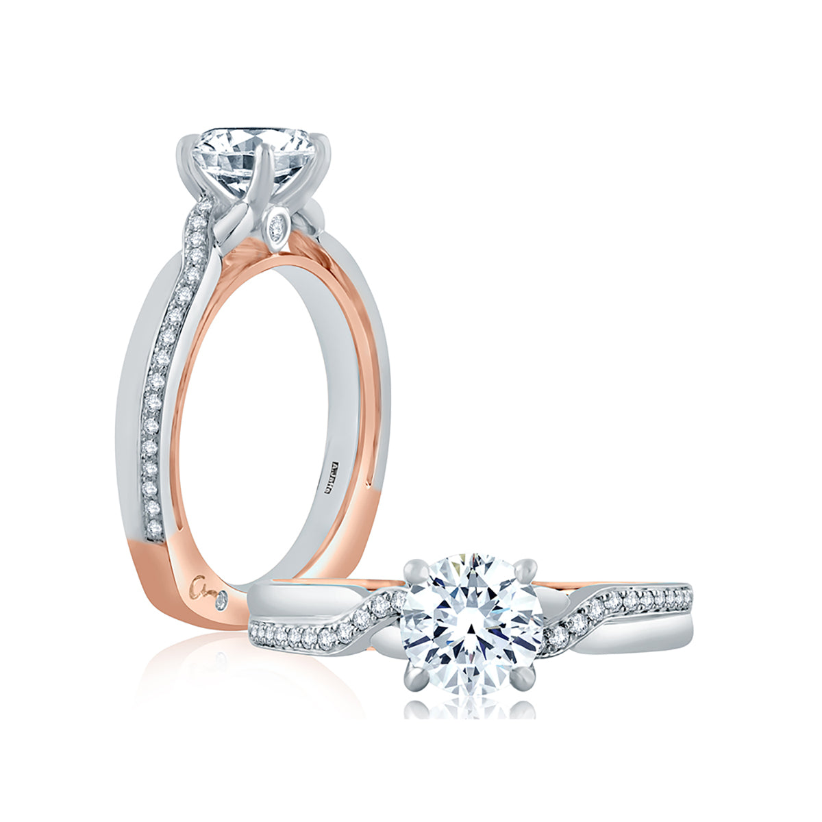A.Jaffe Two Tone Asymmetrical Shank Soitaire Engagement Ring MES849/116