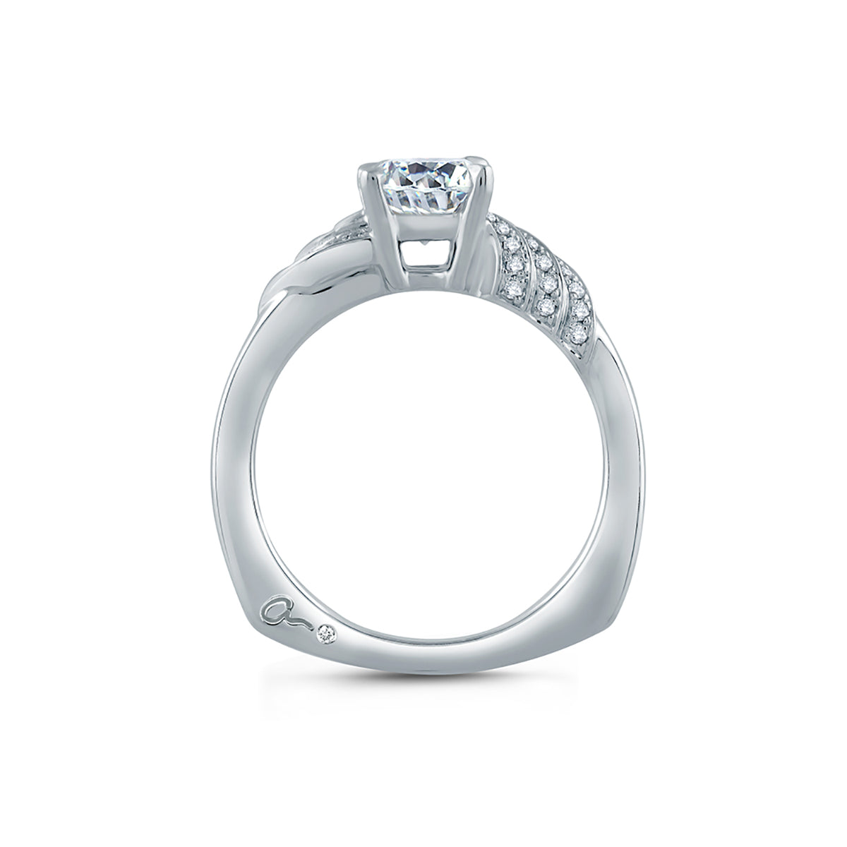 A.Jaffe Diamond Asymmetrical Wave Solitaire Engagement Ring MES856/112