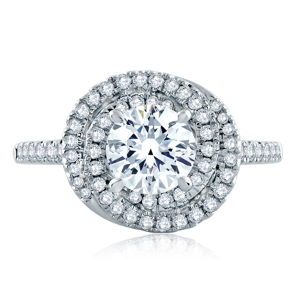 A.Jaffe Continuous Double Halo Pave Engagement Ring MES857/145