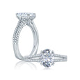 A.Jaffe Split Shank Double Prong Oval Center Solitaire Engagement Ring MES862/181
