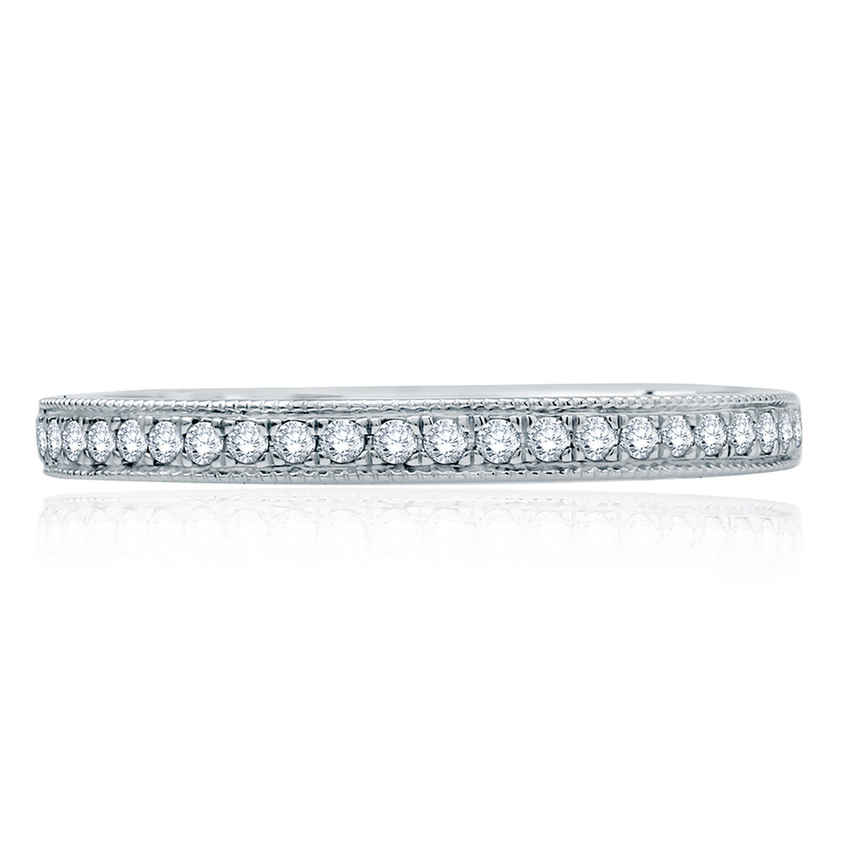 A. Jaffe Modern Vintage Milgrain Half Circle Diamond Wedding Band MR2100Q/14