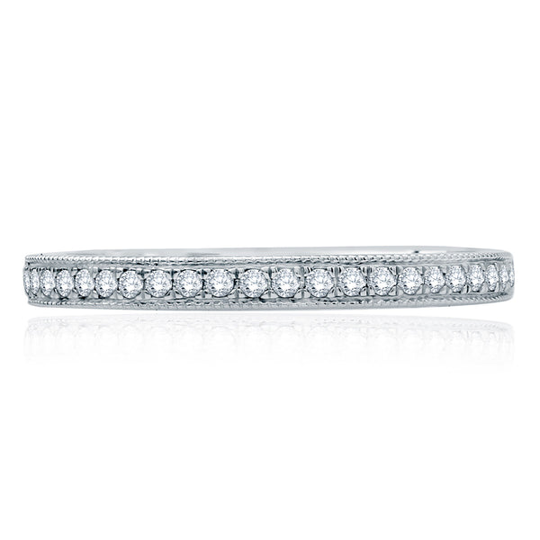 A. Jaffe Modern Vintage Milgrain Edge Half Circle Diamond Wedding Band MR2100Q/14