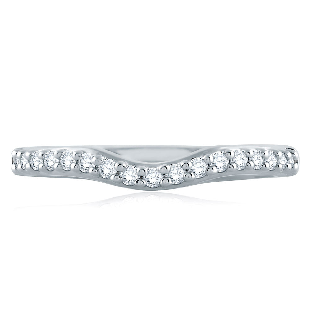 A. Jaffe Classic Shared Prong Contour Signature Shank Diamond Wedding Band MRS515/22