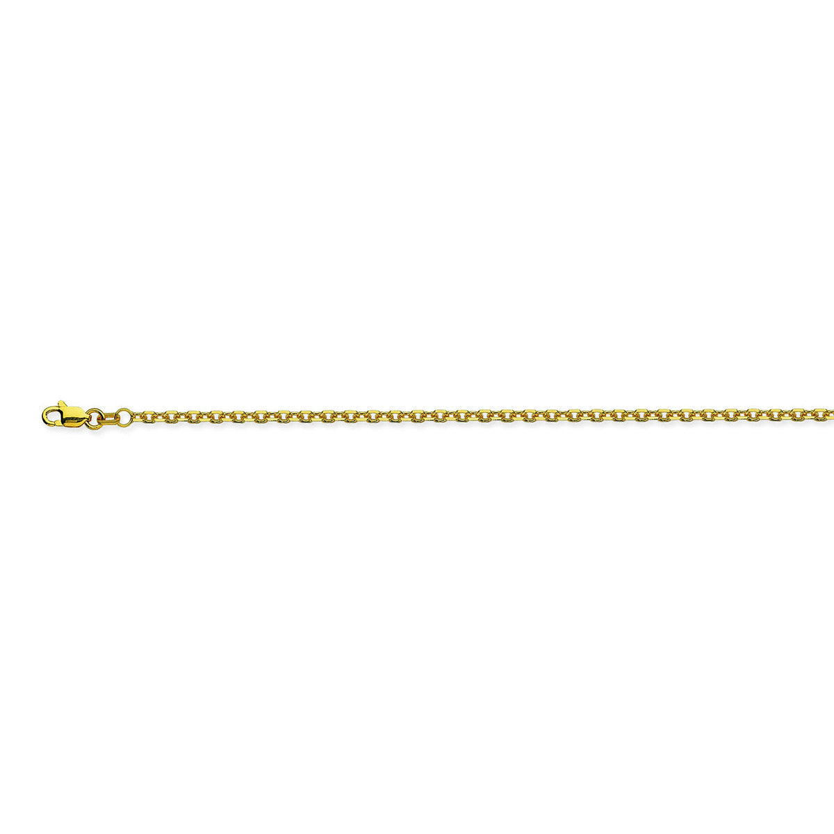 14K Gold 1.80mm Diamond-Cut Cable Chain with Lobster Closure
