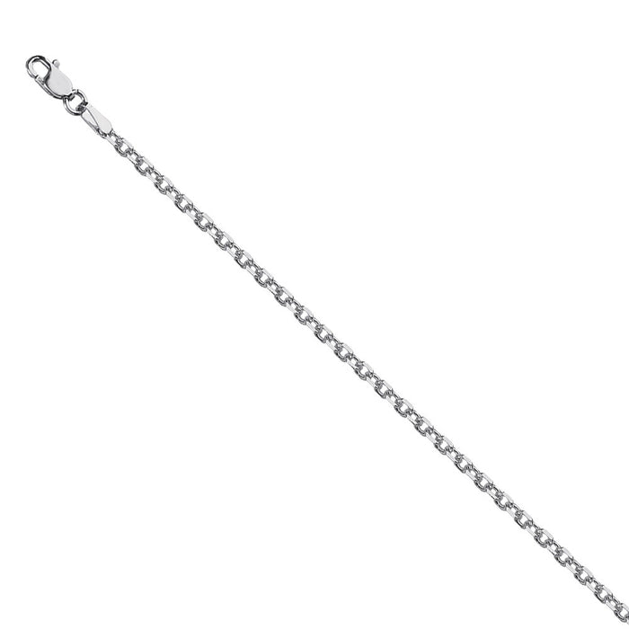 Sterling Silver 1.90mm Diamond-Cut Cable Chain with Lobster Closure