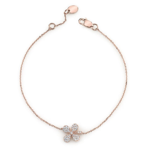 Mars Jewelry 14K Rose Gold Chain Bracelet w/ Floral Diamond Accents 26899