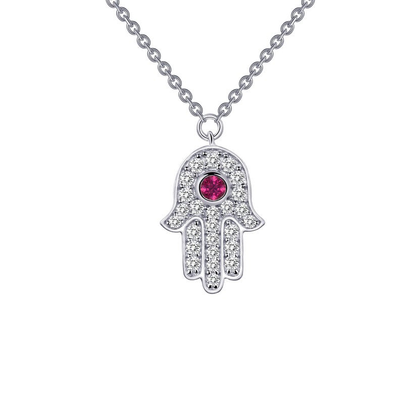 Lafonn Signature Lassaire Simulated Ruby Diamond Hand Necklace N0032CRP18