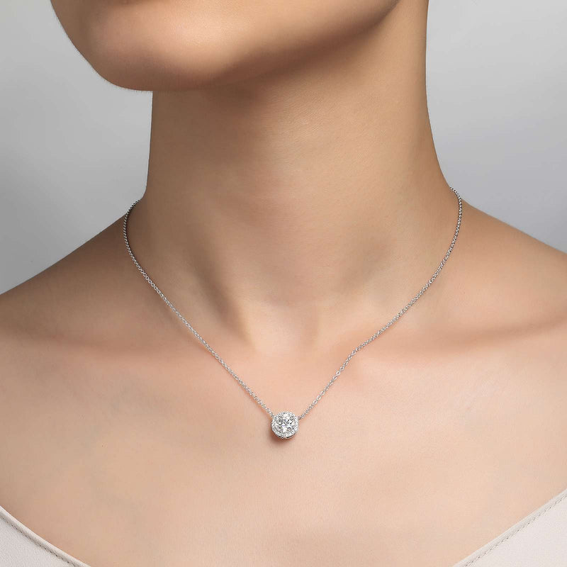 Lafonn Signature Lassaire Simulated Diamond Halo Necklace N0038CLP18