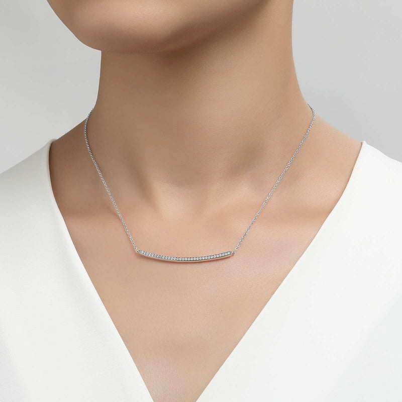 Lafonn Signature Lassaire Simulated Diamond Curved Bar Necklace N0045CLP