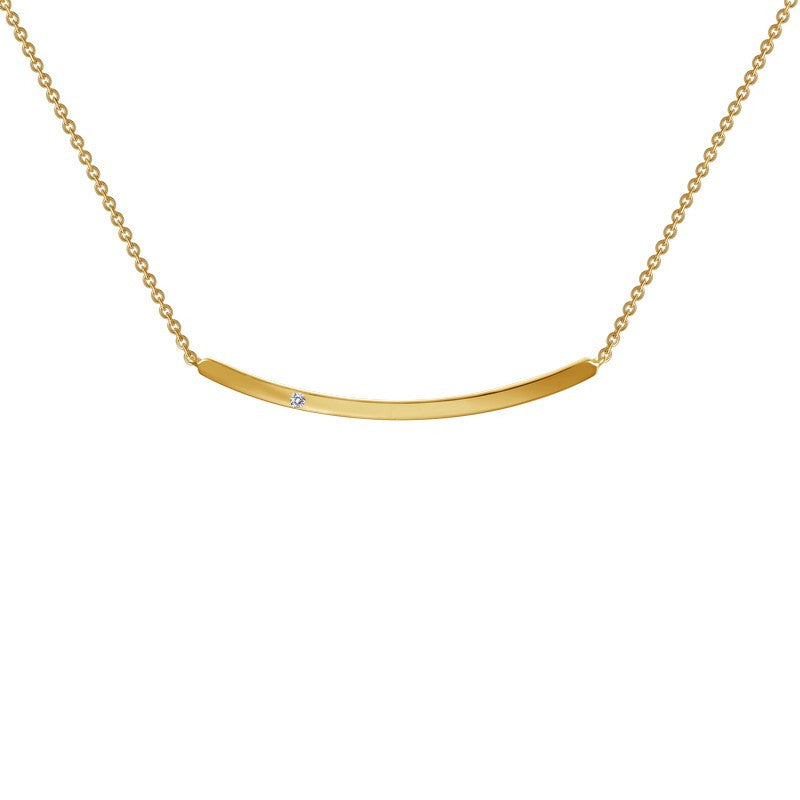 Lafonn Signature Lassaire Simulated Diamond Curved Bar Necklace N0046CLG17