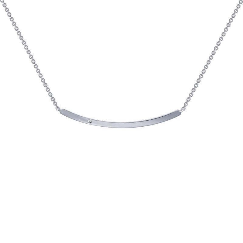 Lafonn Signature Lassaire Simulated Diamond Curved Bar Necklace N0046CLP