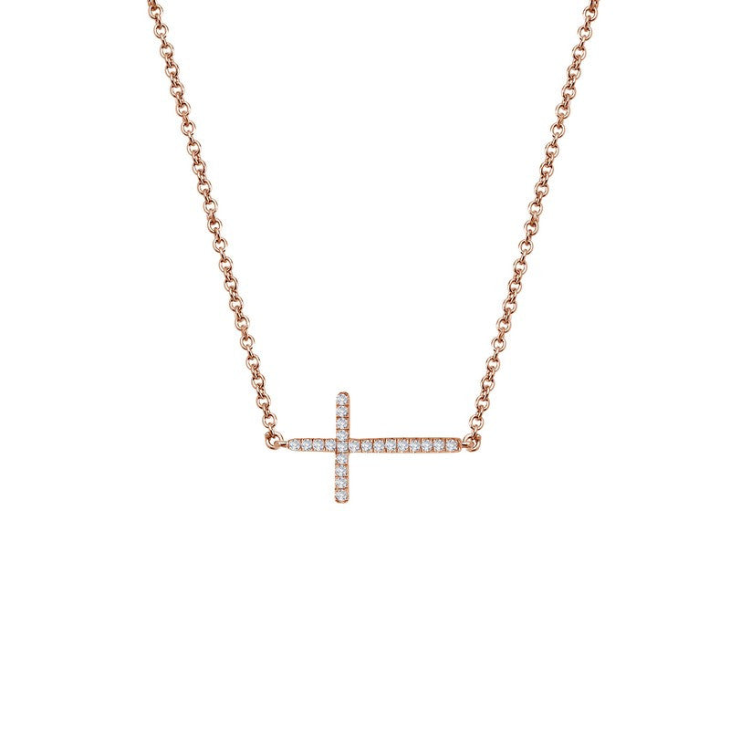 Lafonn Signature Lassaire Simulated Diamond Sideways Cross Necklace N2001CLR
