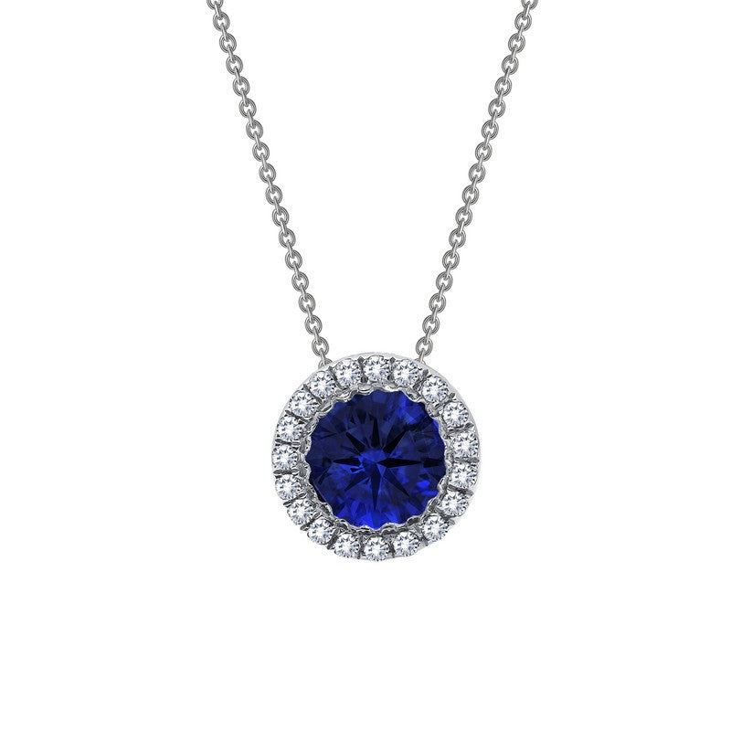 Lafonn Signature Lassaire Simulated Diamond and Sapphire Halo Necklace N2005CSP