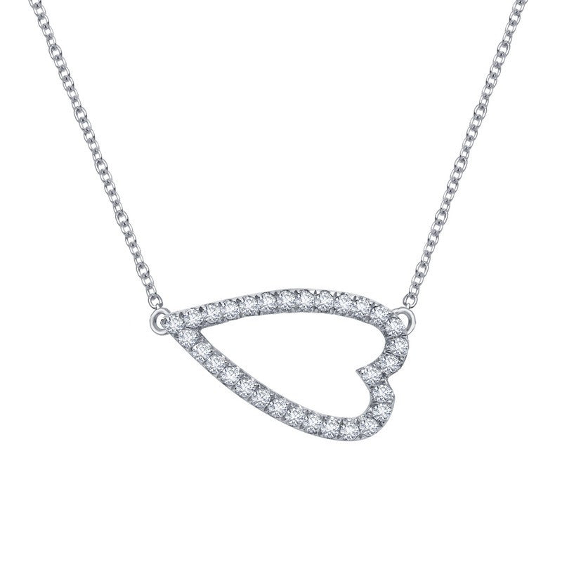 Lafonn Signature Lassaire Simulated Diamond Sideways Heart Necklace N2008CLP