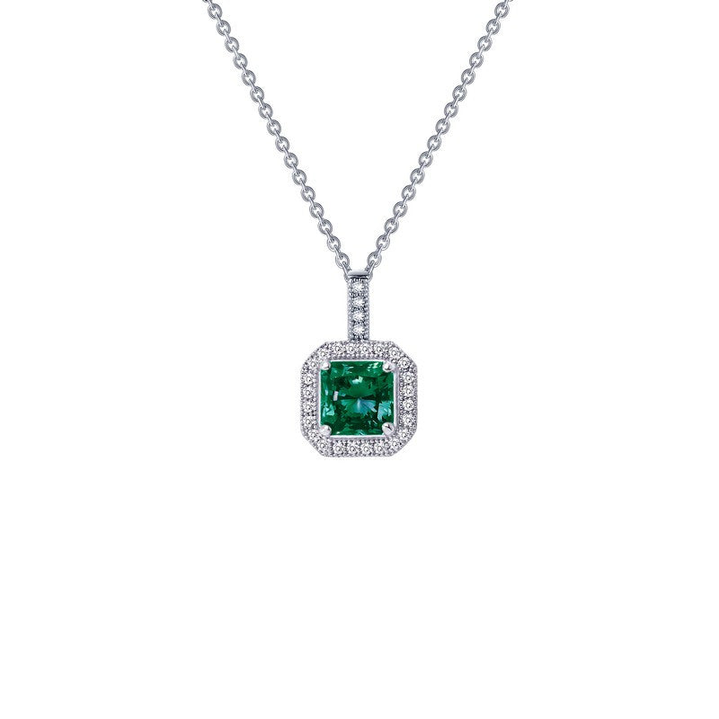 Lafonn Signature Lassaire Simulated Diamond and Emerald Square Halo Necklace P0017CEP