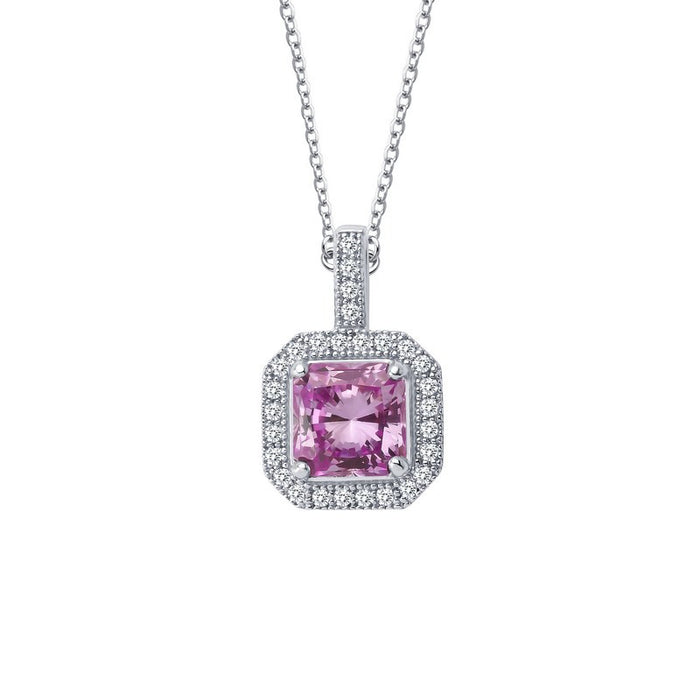 Lafonn Signature Lassaire Simulated Diamond and Pink Sapphire Square Halo Necklace P0017CPP