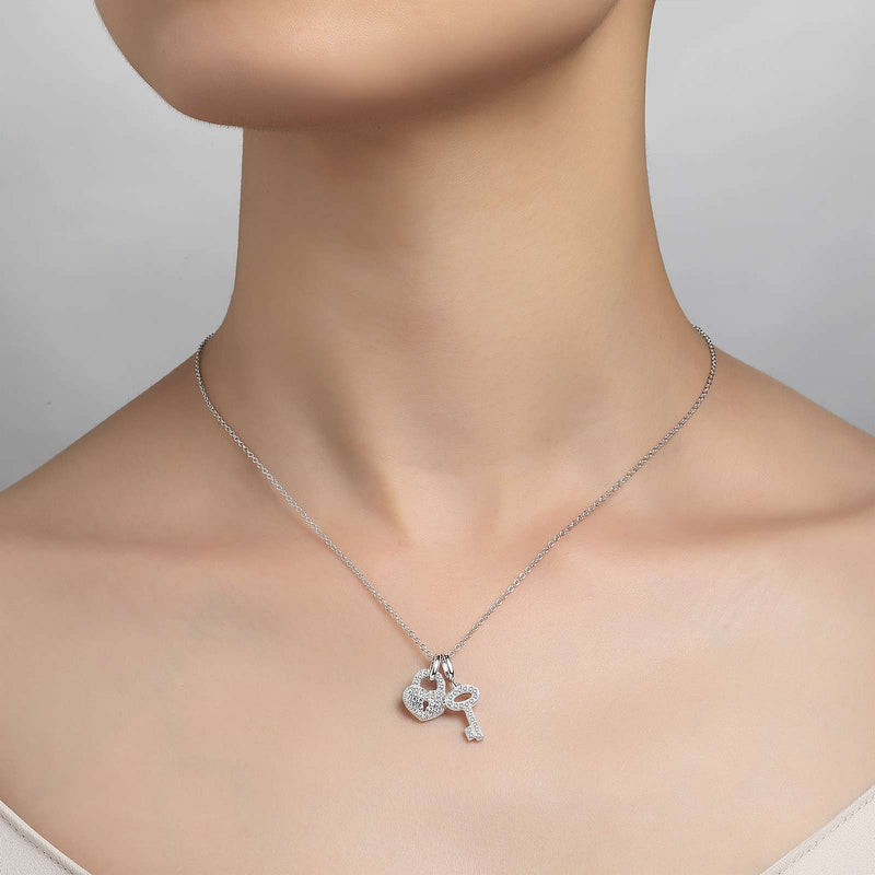 Lafonn Signature Lassaire Simulated Diamond Heart and Key Necklace P0049CLP