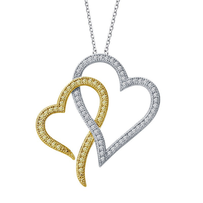 Lafonn Signature Lassaire Simulated Canary Diamond Hearts Necklace P0121CAP