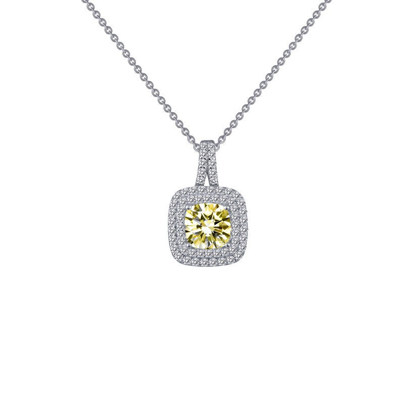 Lafonn Signature Lassaire Simulated Diamond and Canary Double Halo Necklace P0161CAP