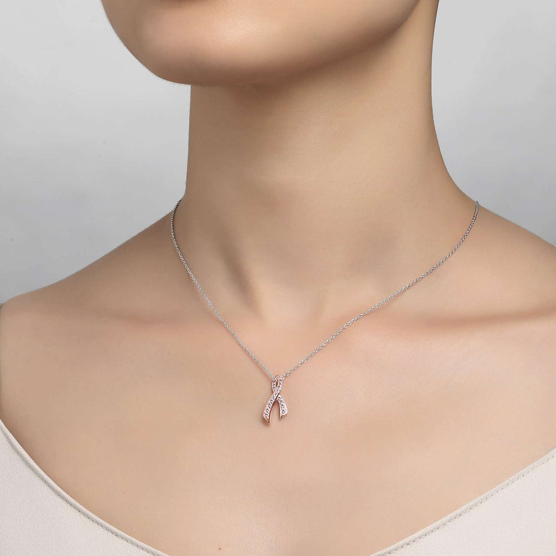 Lafonn Signature Lassaire Simulated Canary Diamond Pink Ribbon Necklace P0172CPP18
