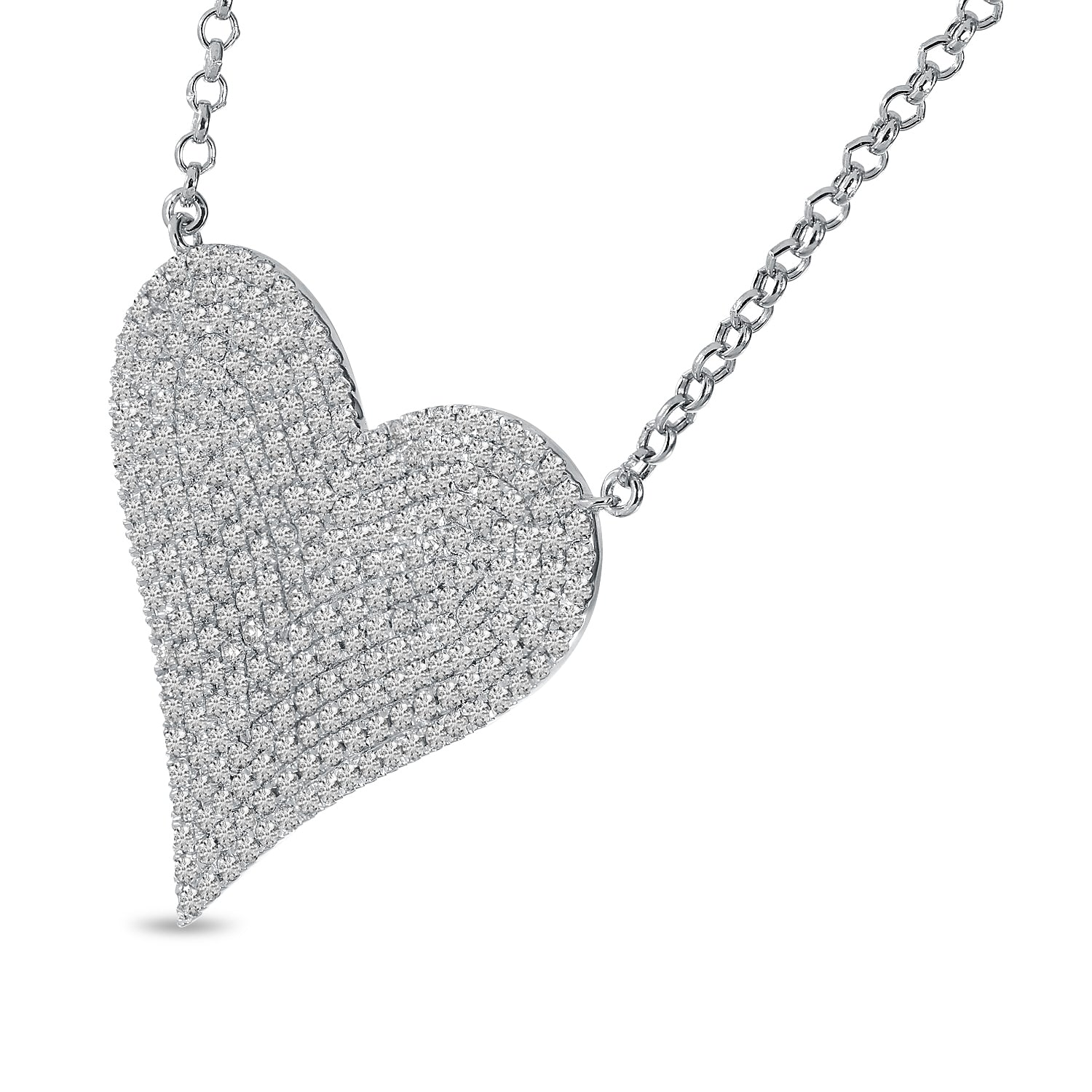 14K White Gold Large Pave 0.91ct. Diamond Heart Necklace
