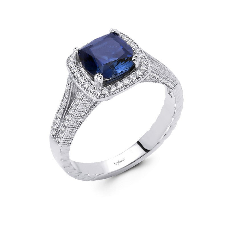 Lafonn Signature Lassaire Simulated Sapphire Diamond Halo Ring R0014CSP05