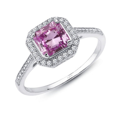 Lafonn Signature Lassaire Simulated Diamond and Pink Sapphire Square Halo Ring R0029CPP